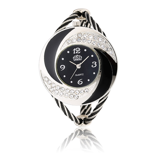 CUSSI Crystal Round Dial Women Watch Alloy Weave Band Analog Bracelet Watch