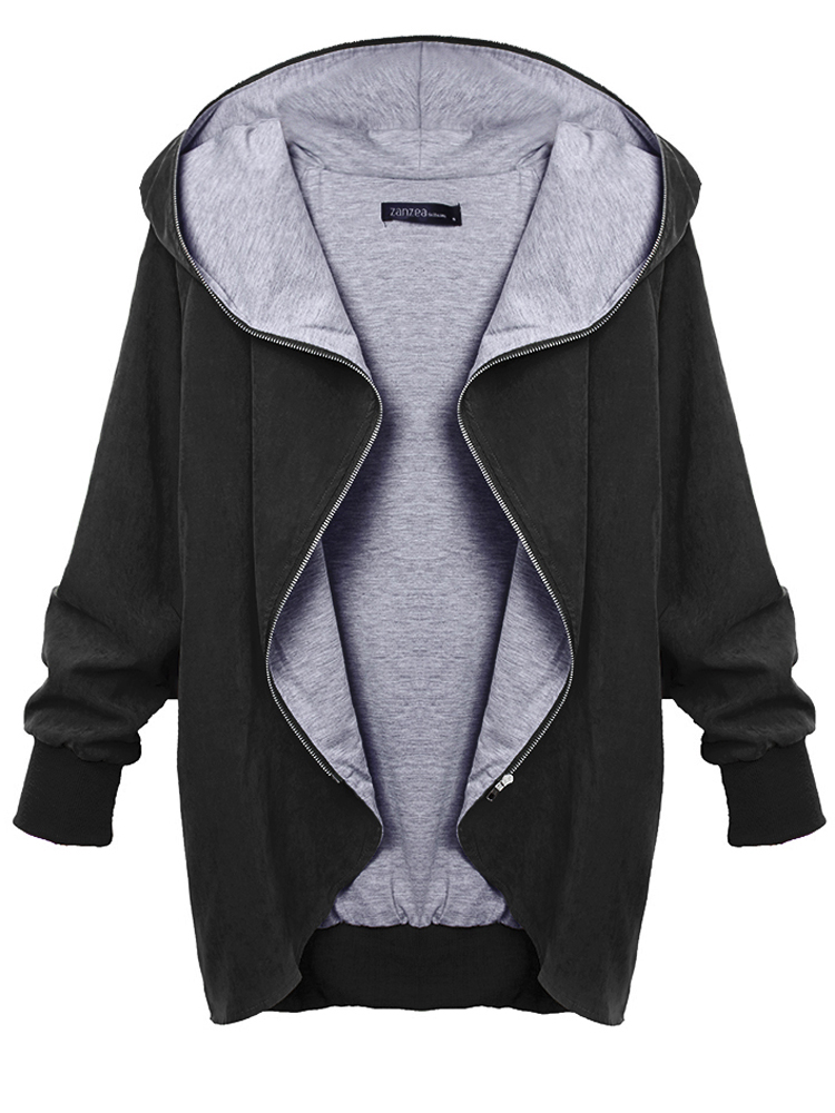 Women Autumn Casual Hooded Large Size Thin Jackets Outerwear Coat