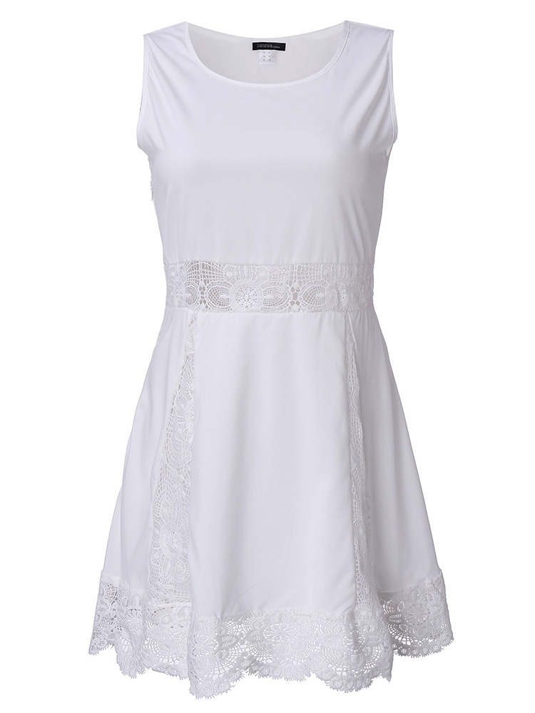 Sleeveless Lace Chiffon Dress Front