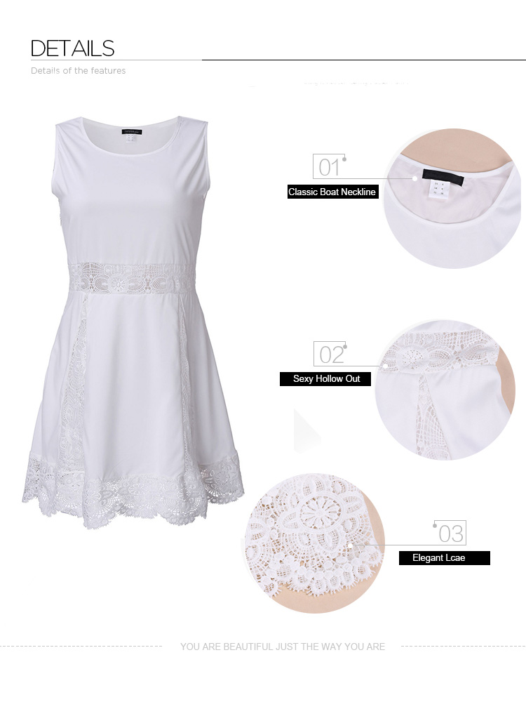 Women White Lace Crochet Hollow Out Sleeveless Chiffon Mini Dress