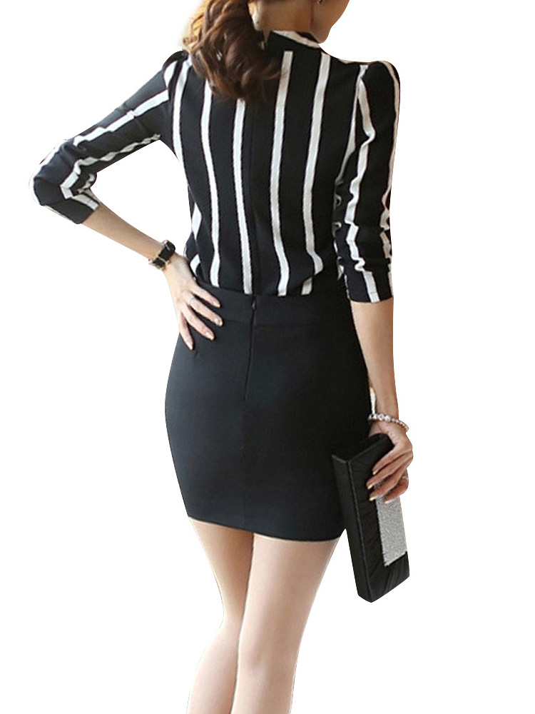 Women Hollow Out Chiffon Stripe Long Sleeve Blouse