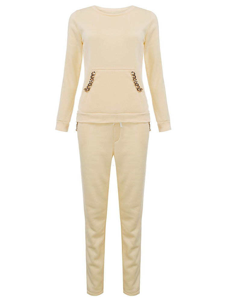 Women Sport Cotton Solid Thick Chain Tracksuit