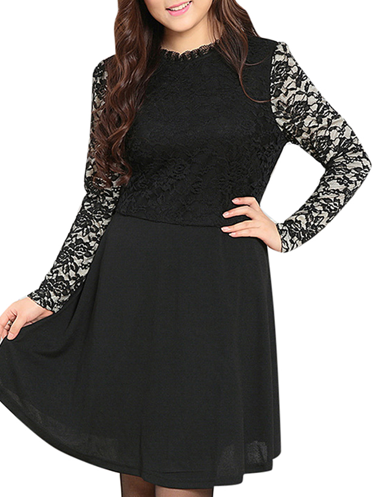 Women Plus Size Black Lace Patchwork Lining Skater Dress
