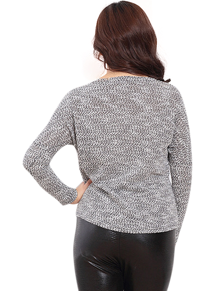 Women Plus Size Gray Knitted Bottoming Shirt