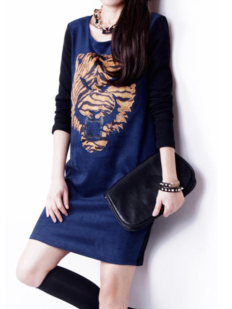 Women Plus Size Vintage Animal Print Slim Dress