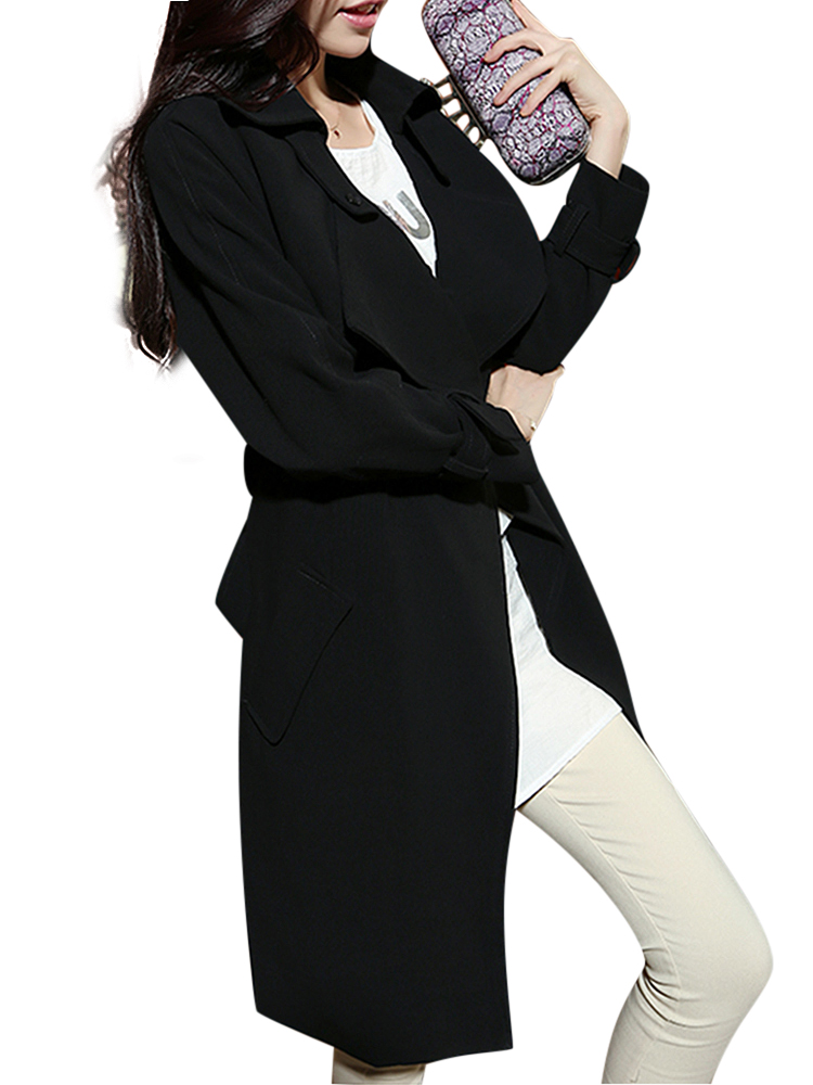 Women Elegant Bow Pocket Belt Long Trench Coat