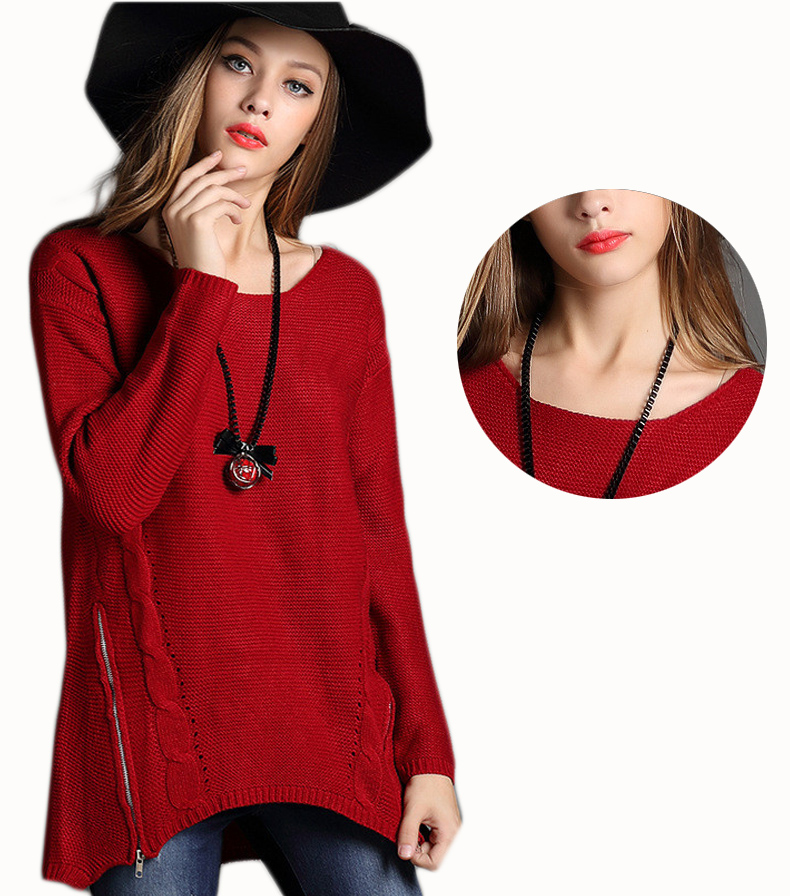 Women Zipper Casual Simple Baggy Ladies Knitted Sweater