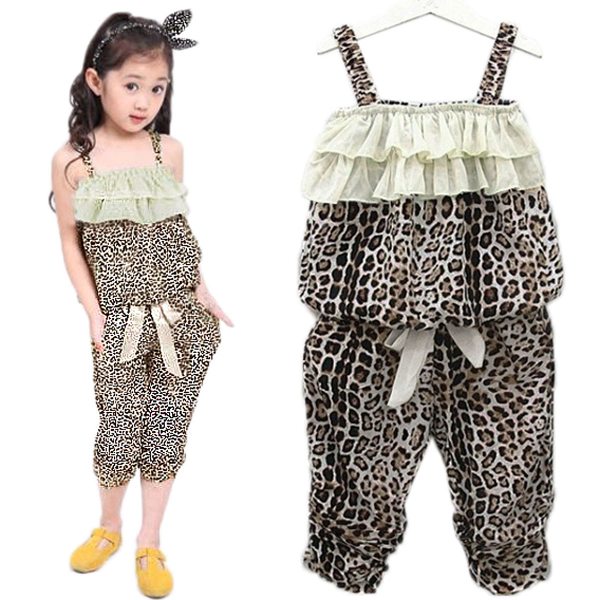 Baby Girls Leopard Clothes Sets Vest Pants Suits Outfits
