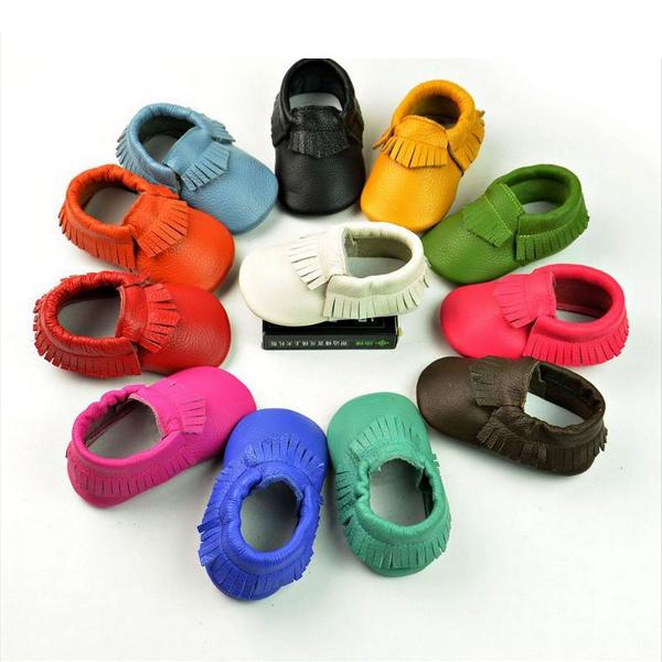 Baby Newborn Tassels Leather Shoes Soft Anti-slip Prewalker