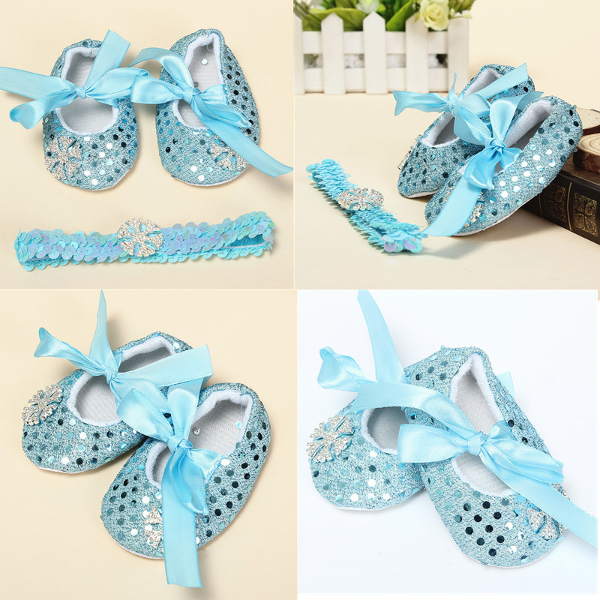 Baby Toddler Snow Bling Crib Shoes Headbrand Soft Sole Prewalker