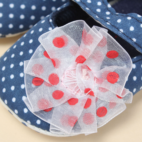 Baby Toddler Polka Dot Flower Shoes Soft Sole Adorable Prewalker