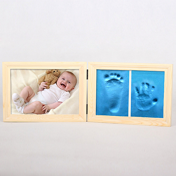 Half Price Clearance Baby Infant Wood Photo Frame Fingerprint Mud Set Memory Gift