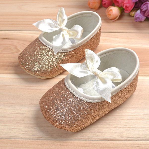 Baby Girls Shiny Bling Ribbon Soft Sole First Walking Shoes