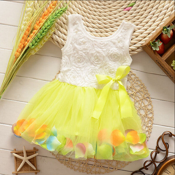 Baby Girls Summer Rose Colorful Tutu Princess Dress