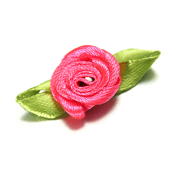 100 Ribbon Rose DIY Decor Wedding Flower Craft Sewing Leaves