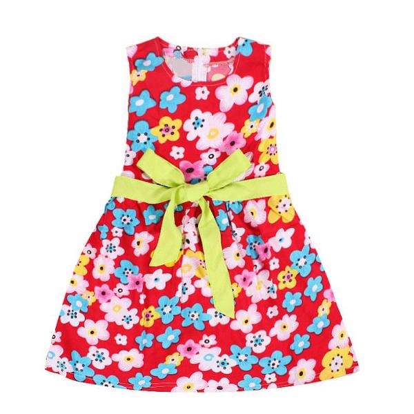 Baby Girls Sleeveless Flower Colorful Bowknot Princess Dress