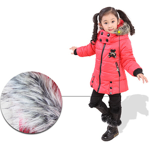 Kids Girls Rabbit Print Winter Warm Hooded Coat Children Outwear