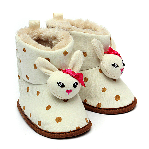 Baby Children Kids Warm Rabbit Boots Dot Animal Snow Fleece Shoes