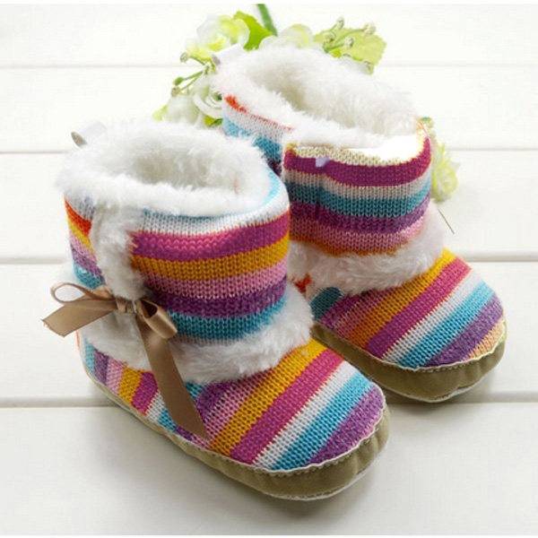 Baby Girls Toddler Velvet Rainbow Soft Sole Boots Shoes