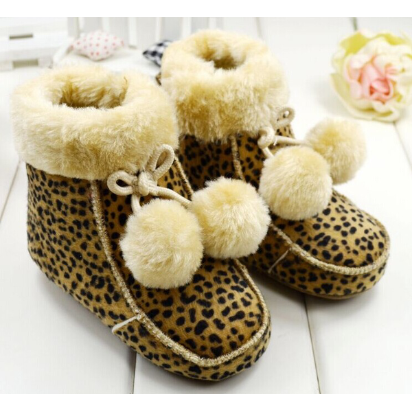 Baby Girls Warm Cutton Lined Suede Creep Boots Soft Soled Shoes