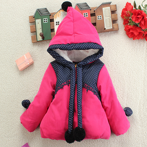 Baby Children Girls Princess HoodieThicken Polka Dot Outwear Coat