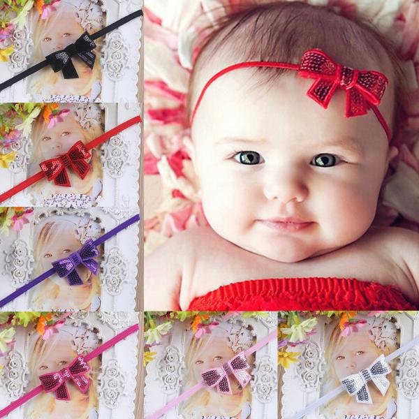 Baby Children Girls Sequins Bowknot Headwear Hair Band Princess Elastic