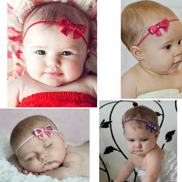 Baby Children Girls Sequins Bowknot Headwear Hair Band Princess Elastic