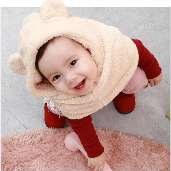 Baby Children Toddler Fleece Hat Cap Coif Hood Scarf Set