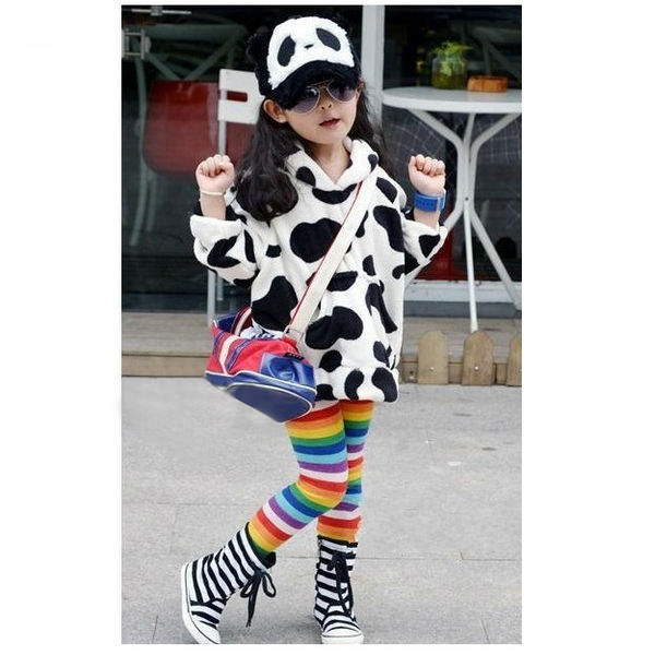 Baby Children Fleece Warm Rainbow Stripe Leggings Tights Pants