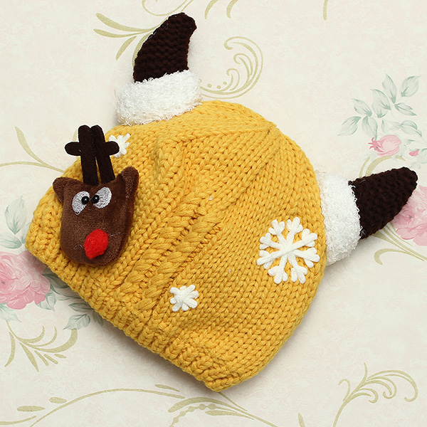 Children Boys Girls Baby Christmas Cap Woolen Fawn Snowflake Hat