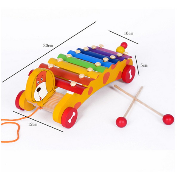 Baby Children 8-Note Xylophone Dog Trailer Musical Educational Toys