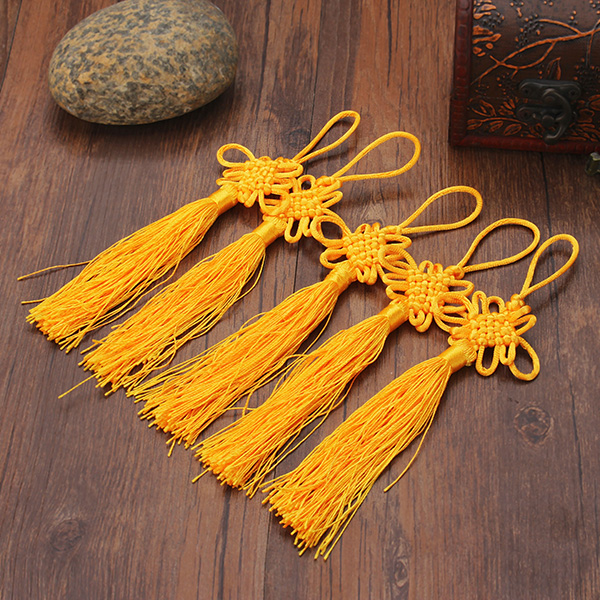 10Pcs Yellow Hand Knit Chinese knot Pendant Gift Celebration Supplies Car Pendant
