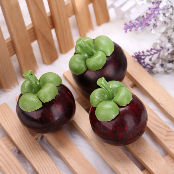 Artificial Mangosteen Mould Decorative Fake Fruit Kids Educational Toys Photo Props