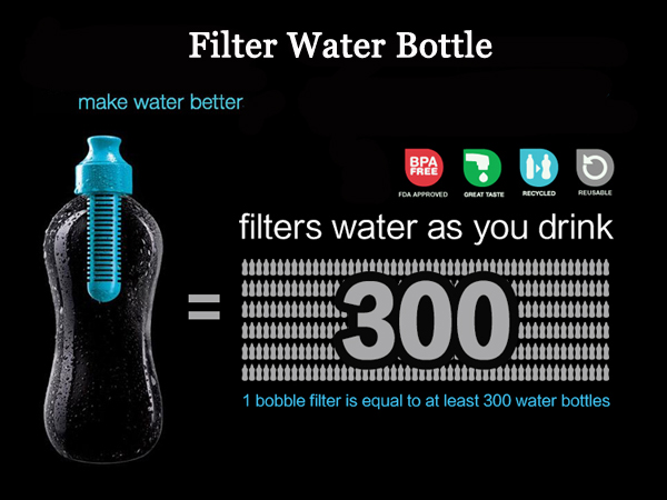 Large Size Activated Carbon Filter Flask Self Filtering Water Bottle