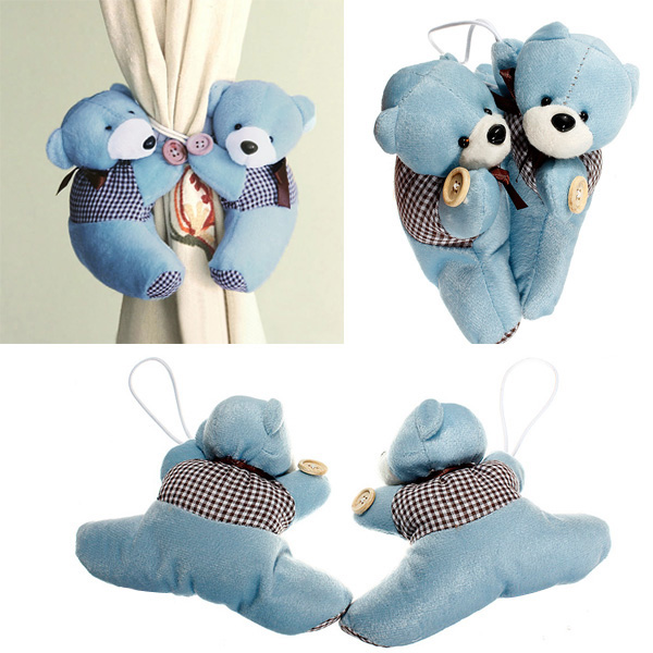 Pair Of Plush Cartoon Bear Curtain Buckles Curtains Hanging Tie Back Binds