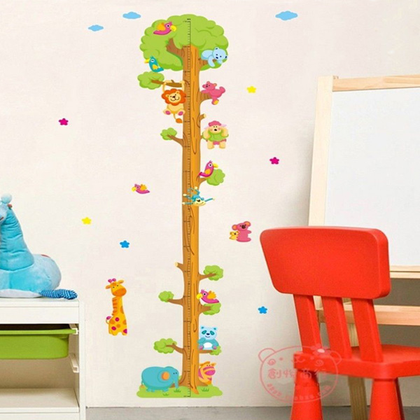 Baby Kids & Mother Care Cartoon Animal Tree Wall Stickers Children's Measuring Wall Sticker Vallejo Search b.