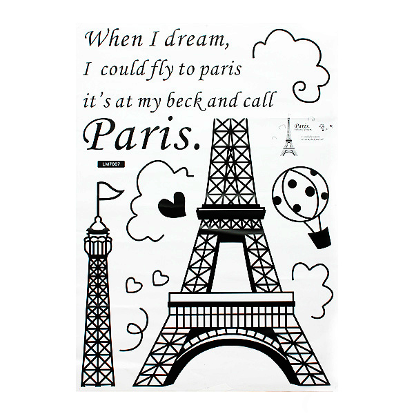 Home Decoration Romatic Paris Eiffel Tower Wall Decals Stickers