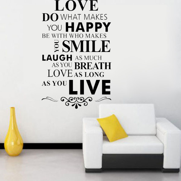 DIY Home Decor Removable Art Words Vinyl Decal Wall Stickers Mural