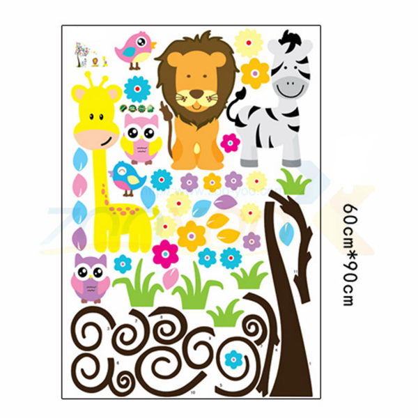 Owl Lion Tree Wall Stickers Removable Wallpaper Cartoon Children Rooms Decor
