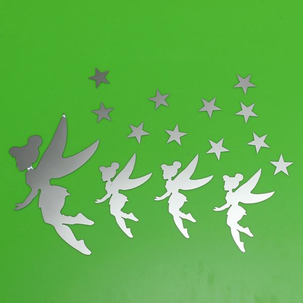DIY Acrylic Mirror 4 Magic Fairy Stars Wall Stickers Home Decor Art Decal