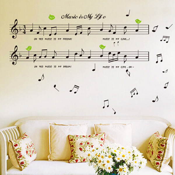 Black Music Note Removable Decal Home Room Decor Art Wa