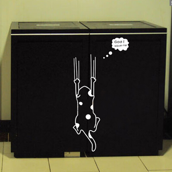 Cartoon Black White Cat Wall Sticker Home Decor Refrigerator Kitchen Cabinet Wallpaper