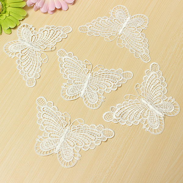 10 Beautiful White Venice Lace Butterfly Applique DIY Craft