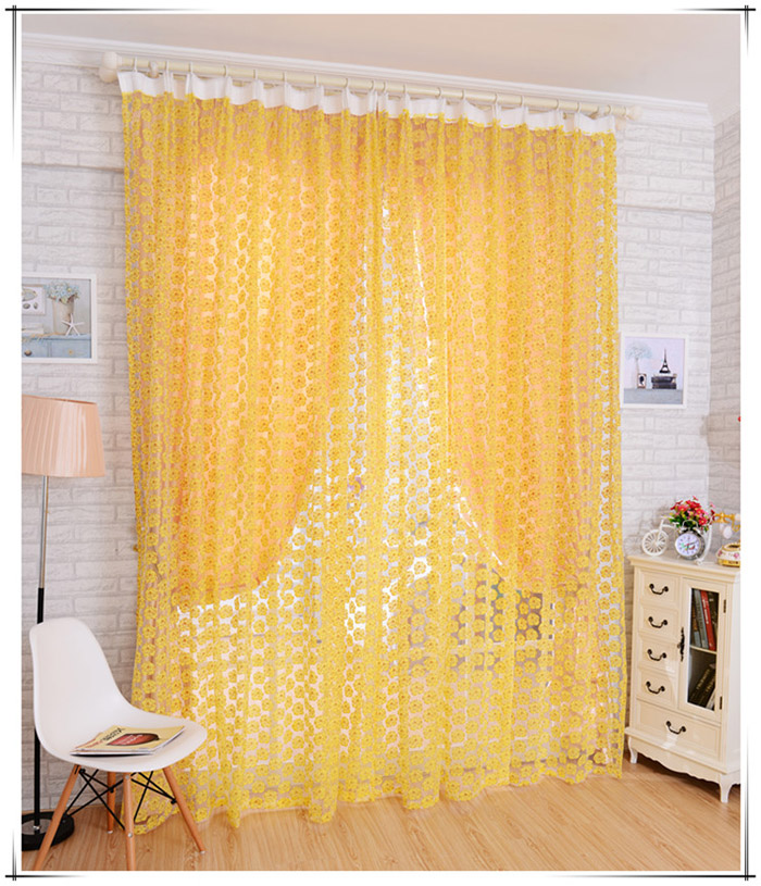 100*210cm Flower Printed Floral Voile Tulle Window Curtain Sheer Window Screen