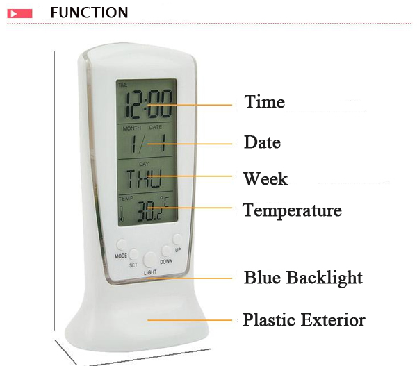 LED Digital Alarm Clock Backlight Music Calendar Thermometer Clock Desktop Clock
