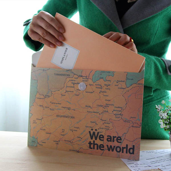 Stationery Vintage World Map Horizontal Paper Folder Bag