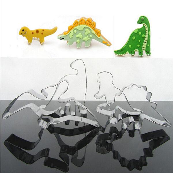 Image of 4pcs Edelstahl Dinosaurier Biskuit Plätzchen Scherblock Werkzeuge