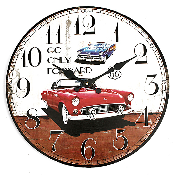 Vintage Wall Clock Car Rustic Home Office Cafe Bar Deco