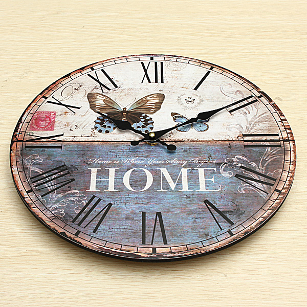 Vintage Wall Clock Butterfly Home Office Cafe Bar Decoration Art