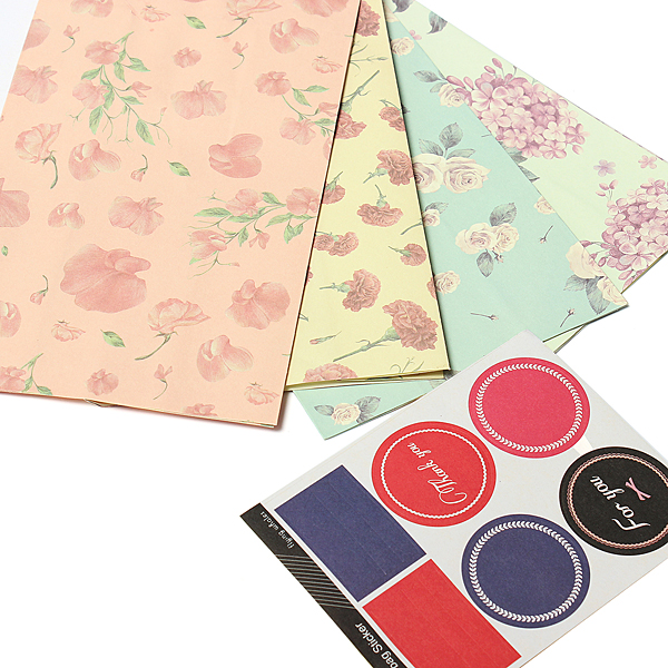 3pcs Flowers Style Paper Gift Bags Wedding Party Wrap Bags Stickers